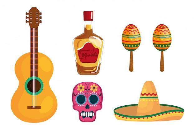 Mexikanischer tequila flaschengitarrenschädelhut und maracas Premium Vektoren