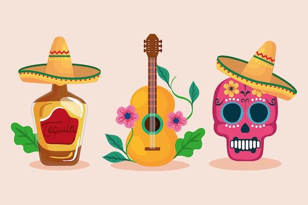 Mexikanischer tequila-flaschenschädel mit hut und gitarre Premium Vektoren