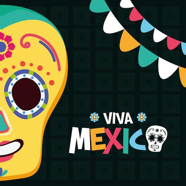 Mexikanischer totenkopf und girlanden für viva mexico Kostenlosen Vektoren
