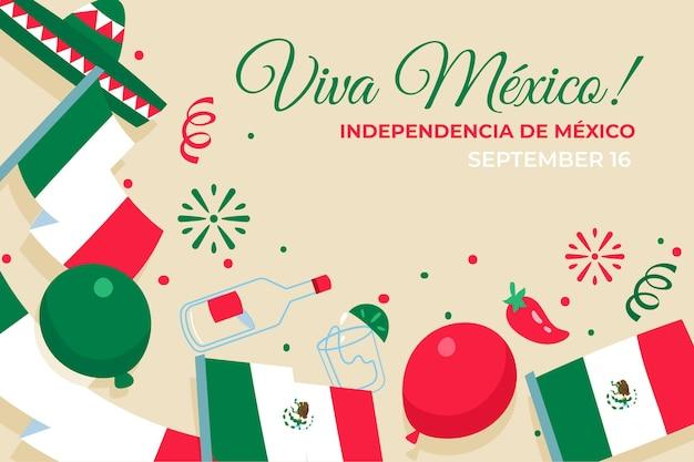 Mexikanischer unabhängigkeitstaghintergrund des flachen entwurfs Kostenlosen Vektoren