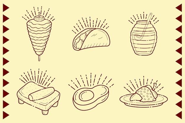 Mexikanisches essen mit tortilla und burritos Kostenlosen Vektoren