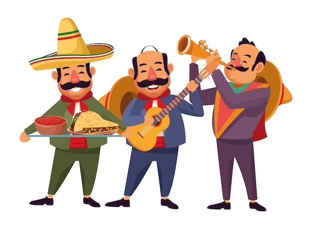 Mexikanisches essen und traditionelle kultur Premium Vektoren