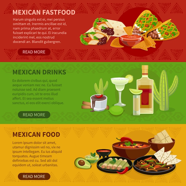 Mexikanisches lebensmittel 3 horizontale banner set Kostenlosen Vektoren