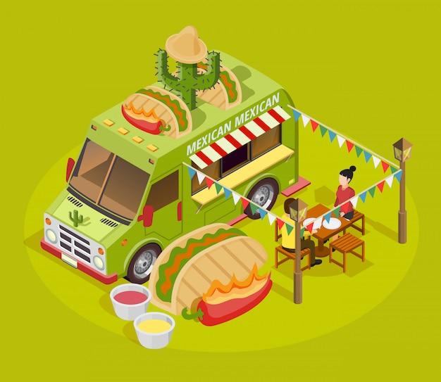 Mexikanisches nahrungsmittel-lkw-isometrisches anzeigen-plakat Kostenlosen Vektoren