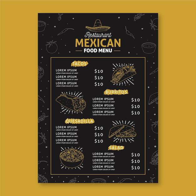 Mexikanisches restaurant menüvorlage Kostenlosen Vektoren