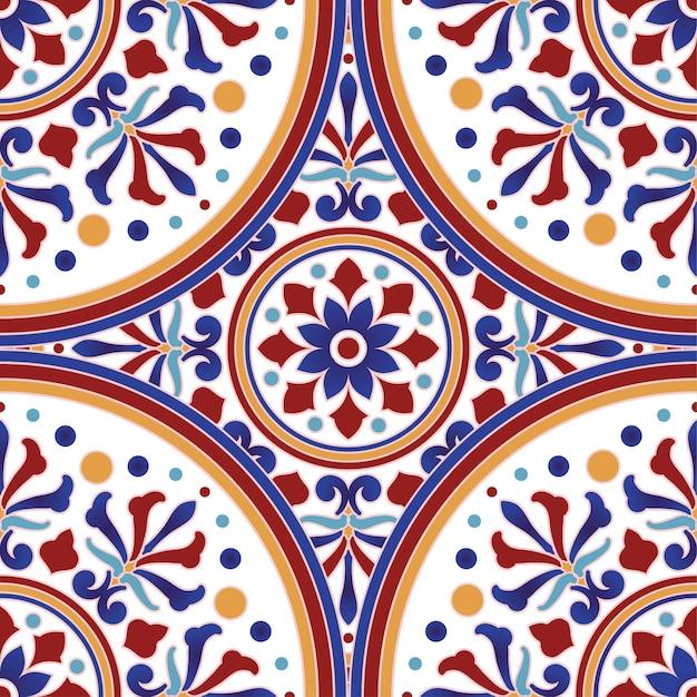 Mexikanisches talavera keramikfliesenmuster, italienischer tonwarendekor, nahtloses muster des portugiesischen azulejo, bunte spanische majolikaverzierung, schöner inder und araber Premium Vektoren