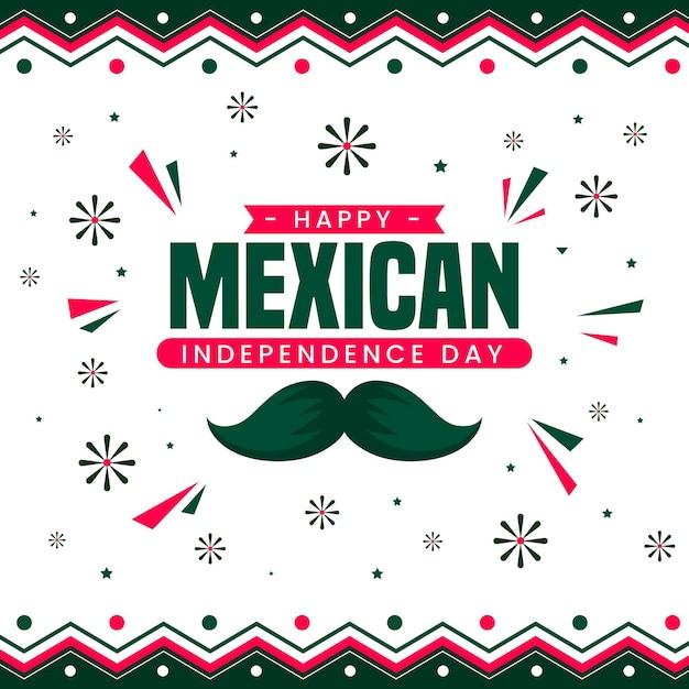 Mexikanisches unabhängigkeitstagkonzept des flachen entwurfs Premium Vektoren