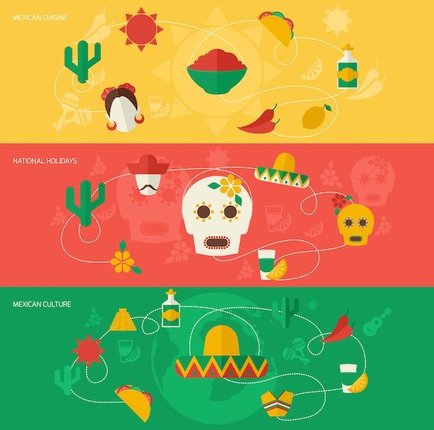 Mexiko flache banner festgelegt Kostenlosen Vektoren