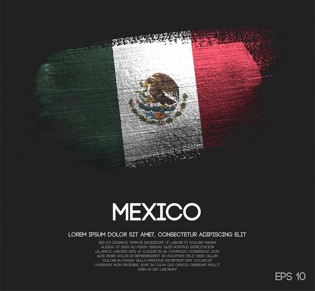 Mexiko-flagge gemacht von der funkeln-schein-bürsten-farbe Premium Vektoren