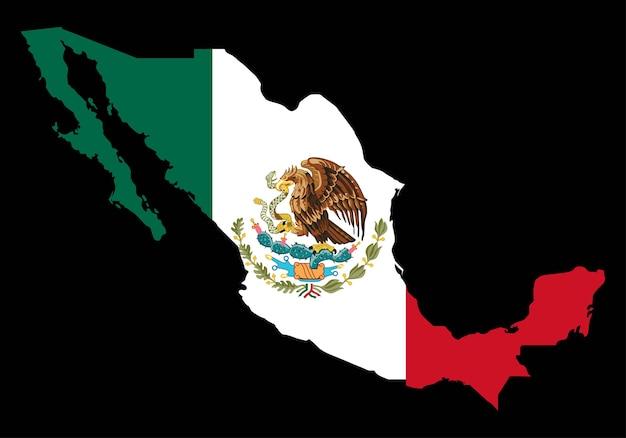 Mexiko mit flaggen-vektor-karte auf schwarzem hintergrund Premium Vektoren