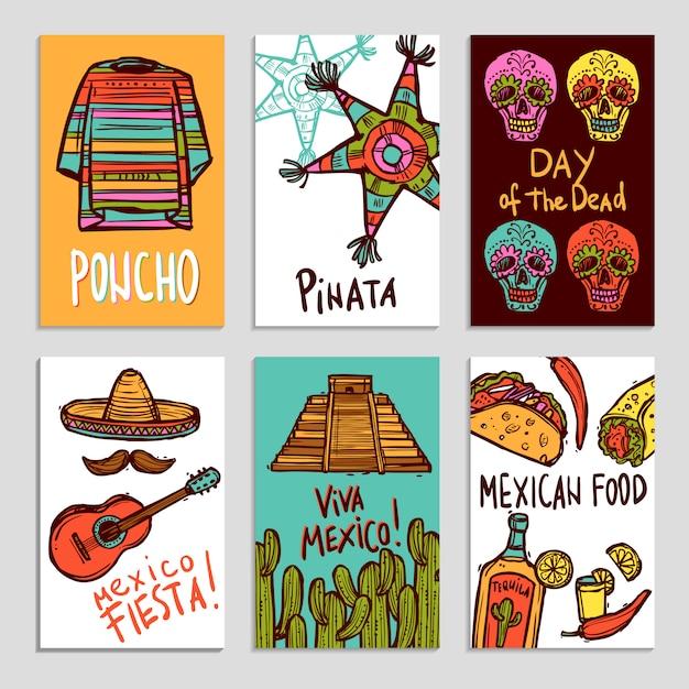 Mexiko-poster-set Kostenlosen Vektoren