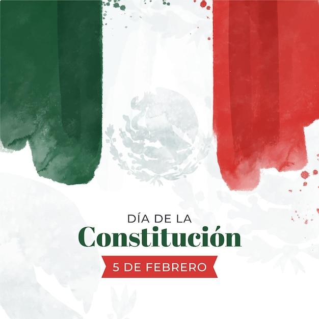 Mexiko verfassung tag aquarell flagge Kostenlosen Vektoren