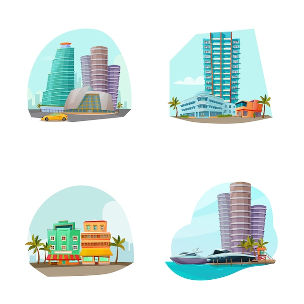 Miami cityscape 4 icons zusammensetzung Kostenlosen Vektoren