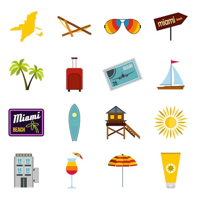 Miami icons set Premium Vektoren