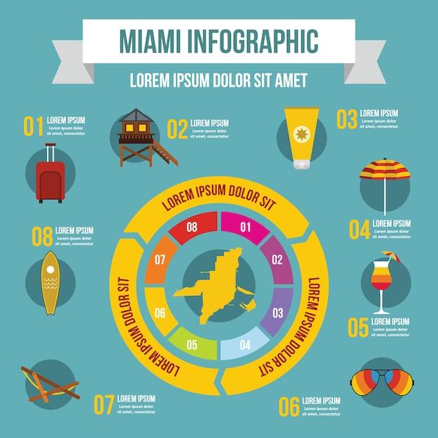Miami infographik vorlage, flachen stil Premium Vektoren