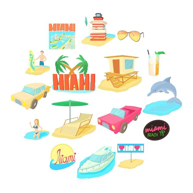 Miami-reiseikonensatz, karikaturart Premium Vektoren
