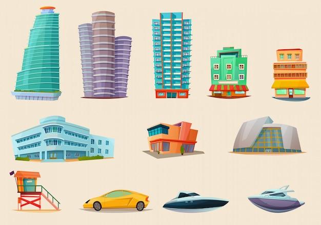 Miami sehenswürdigkeiten transport elements set Premium Vektoren