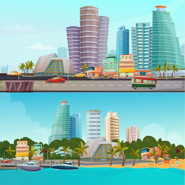 Miami waterfront cartoon banner gesetzt set Kostenlosen Vektoren