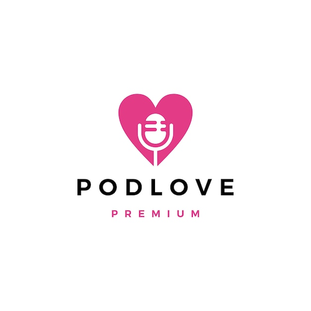 Mic-liebes-podcastlogo-ikonenillustration Premium Vektoren