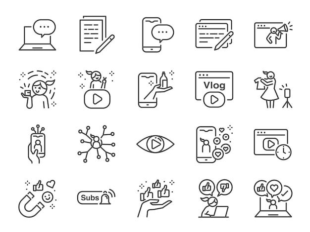 Micro influencer und blog line icon set. enthaltene symbole wie bewertungen, soziale medien, werbung, anzeigen von raten wie, vlog und mehr. Premium Vektoren