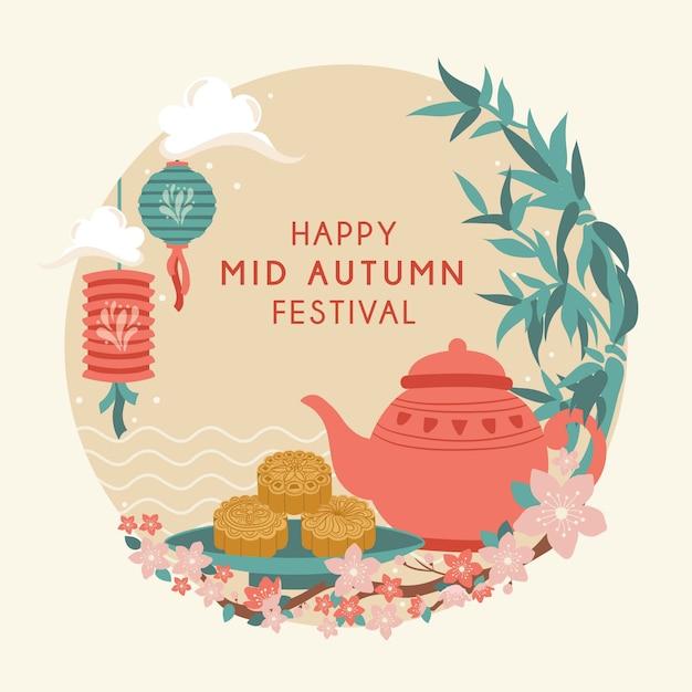Mid autumn festival. chuseok / hangawi festival. Premium Vektoren