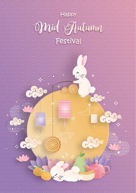 Mid autumn festival mit papierschnittstil Premium Vektoren