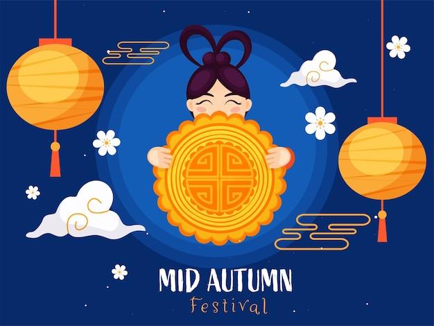 Mid autumn festival poster design mit chinesischem mädchen, das einen mondkuchen, blumen, wolken und hängende laternen hält, verziert auf blauem hintergrund. Premium Vektoren