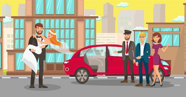 Miet-hochzeitsauto für jungvermählten-illustration Premium Vektoren
