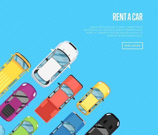 Mieten sie ein autobanner mit stadtautos der draufsicht Premium Vektoren