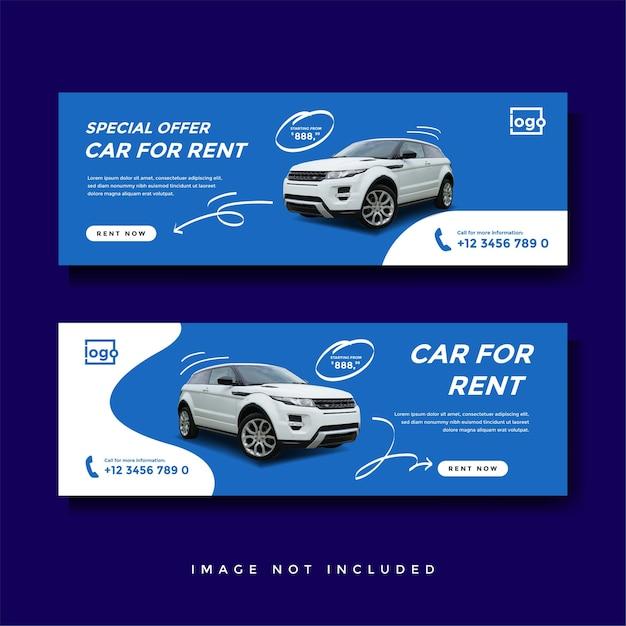 Mietwagen facebook cover banner werbung vorlage Premium Vektoren