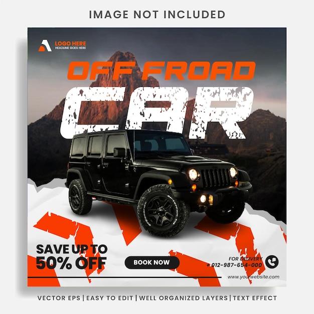 Mietwagen für social media post banner vorlage Premium Vektoren