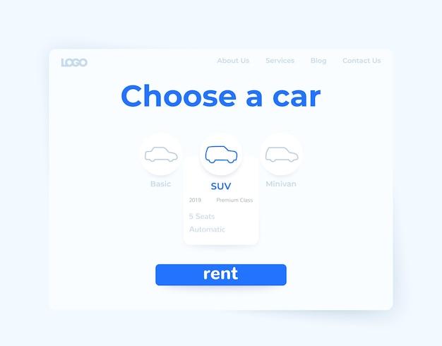 Mietwagen-service, webseiten-design Premium Vektoren