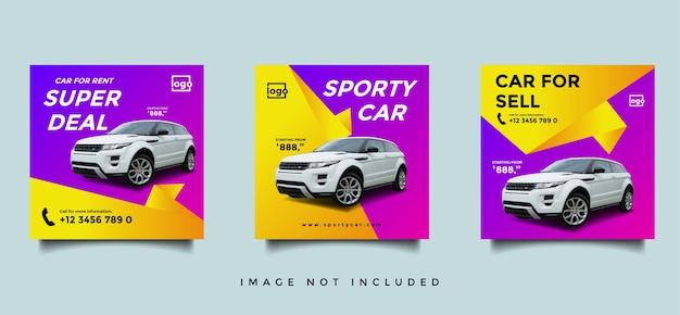 Mietwagen social media instagram banner vorlage Premium Vektoren