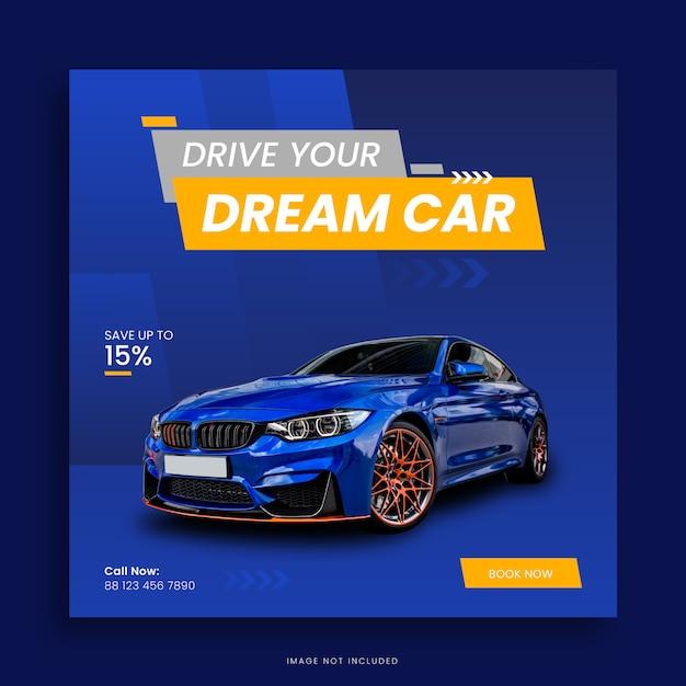 Mietwagen social media post banner design Premium Vektoren