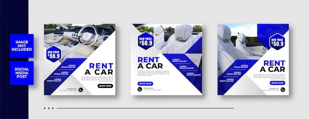 Mietwagen social media square banner vorlage Premium Vektoren