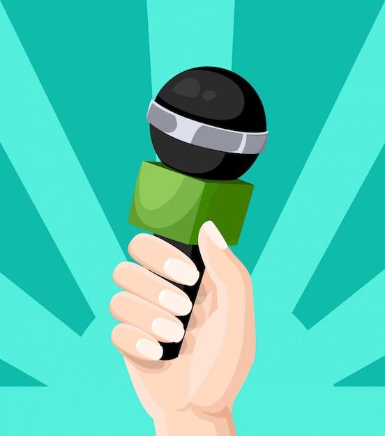 Mikrofon im reporter hände fernsehinterview blogging-stil illustration auf türkis hintergrund website-seite und mobile app Premium Vektoren