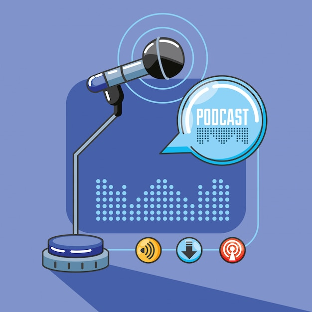 Mikrofon mit geräten des digitalen audiostudios Premium Vektoren