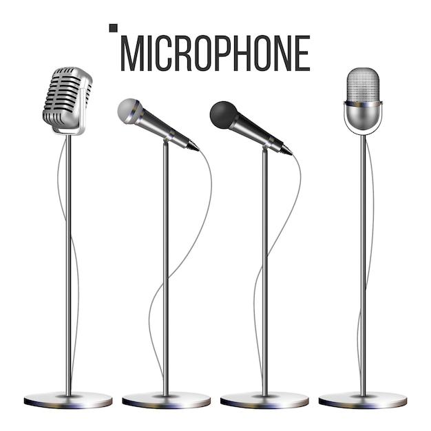 Mikrofon-set mit ständer Premium Vektoren