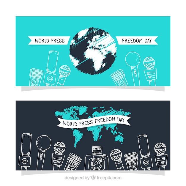 Mikrofon-skizzen für pressefreiheit Kostenlosen Vektoren