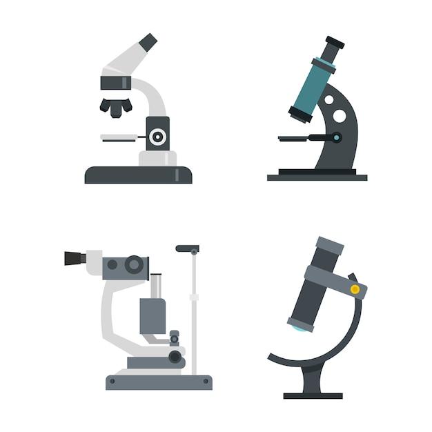 Mikroskop-icon-set. flacher satz der mikroskopvektor-ikonensammlung lokalisiert Premium Vektoren