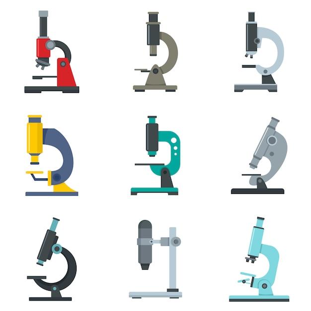 Mikroskop-icon-set Premium Vektoren