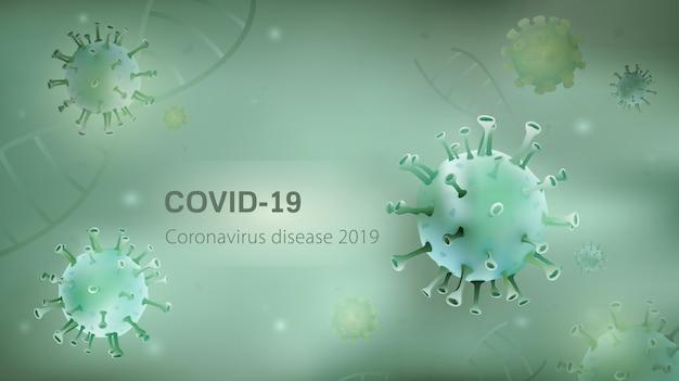 Mikroskopische viruspartikel und dna auf hellgrünem hintergrund mit covid-19 coronavirus-krankheit 2019-text auf kopierraum Premium Vektoren