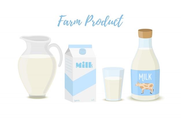 Milch in glas-, flaschen-, glas- und kartonverpackung Premium Vektoren
