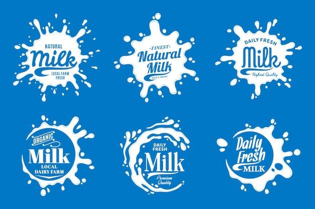 Milch logo. milch-, joghurt- oder cremesymbole und spritzer mit beispieltext. Premium Vektoren