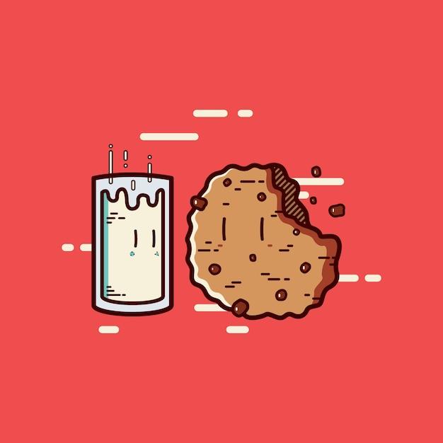Milch mit keks cartoon Premium Vektoren
