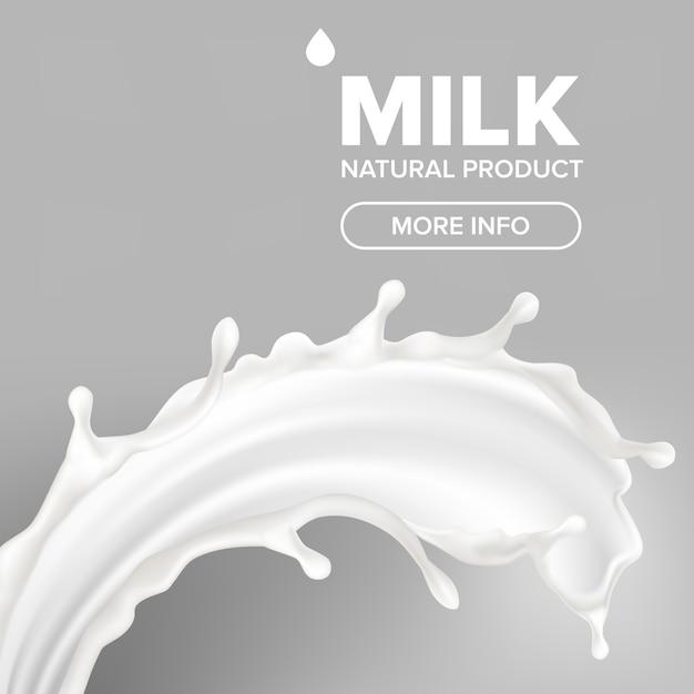 Milch splash banner Premium Vektoren