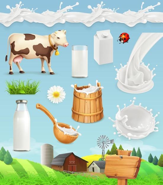 Milch und bauernhof. flasche, glas, löffel, eimer. tropfen nahtloses muster. natürliche milchprodukte. symbolsatz Premium Vektoren