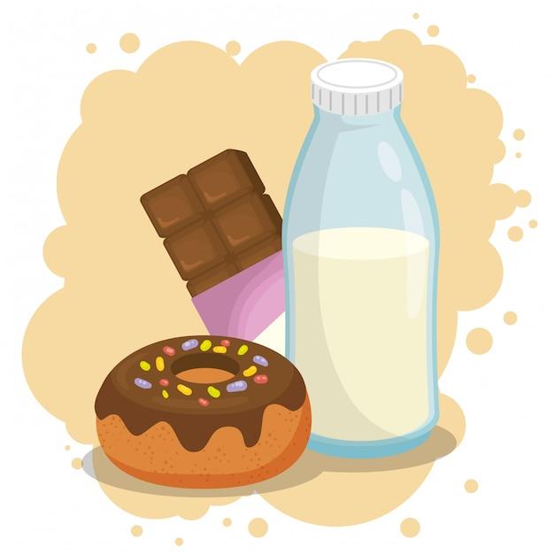 Milch und donut mit schokoriegel Kostenlosen Vektoren