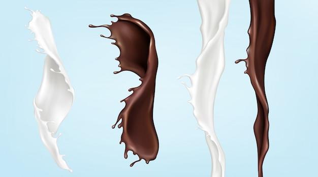 Milch- und schokoladenströme, gießen wirbelnde flüssigkeiten Kostenlosen Vektoren