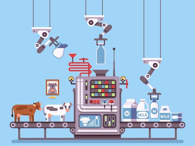 Milcherzeugung, bühnenbearbeitung auf förderband, industriemanagement für milchprodukte Premium Vektoren